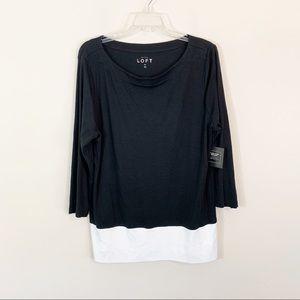 NWT LOFT • Black & White 3/4 Sleeve Top Size XL